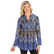 Medallion Print Pintuck Tunic Top, Purple & Black - 44442