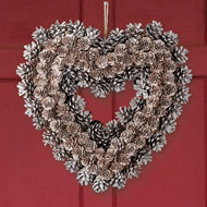 Frosted Pinecone Heart Wreath - 44443