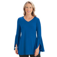 Split Bell Sleeve Tunic Top, Long Sleeved - 44467
