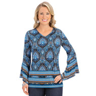 Bell Sleeve Medallion Print V-Neck Tunic Top - 44469