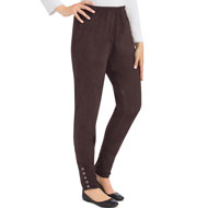 Faux Suede Cinched Leggings with Ankle Buttons - 44473