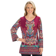 Medallion Print Burgundy Knit V-Neck Bell Sleeve Top - 44474