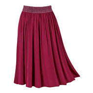 Easy-Fit Crinkle Pull-On Skirt with Embroidery - 44476