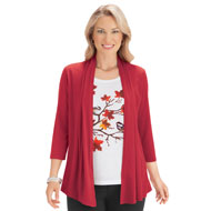 2-In-1 Fall Cardigan Set with Chickadee Tank Top - 44478