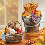 Hand Painted Fall Harvest Statues, Set of 2 - 44508