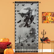 Halloween Witches Lighted Curtain Panel Décor - 44513