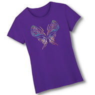 Rhinestone Butterfly Short-Sleeve Cotton Tee - 44538