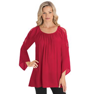 Open Shoulder Top with Lace Crochet Sleeves - 44546