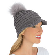 Soft Knit Brimmed Winter Hat with Cute Pom Pom - 44547