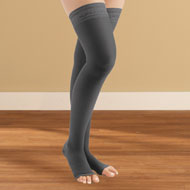 Thigh High Compression Stockings, Moderate, Open Toe - 44597