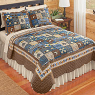 Woodlands Cabin Blue and Brown Patchwork Quilt - 44610