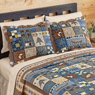Woodlands Cabin Blue Patchwork Pillow Sham - 44611