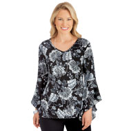 Floral Print Bell Sleeve Top, Three Quarter Sleeve