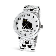 Cute Black and White Cat Watch w/ White Band - 44630