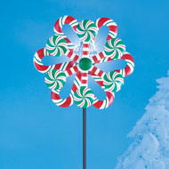 Solar Lighted Candy Cane Wind Spinner Winter Decor