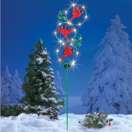 Flying Winter Cardinals Solar Lighted Garden Stake
