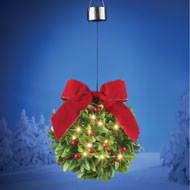 Solar Lighted Mistletoe Ball w/ Bow Outdoor Decor