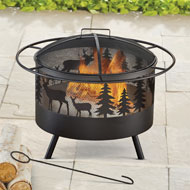 Wood Burning Metal Fire Pit w/ Hook and Lid - 44700