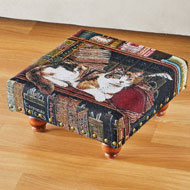 Library Cat Tapestry Footstool - 44737