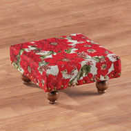 Brass Studded Poinsettias Tapestry Footstool - 44738