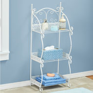3-Tier Scrollwork Metal Shelf in White - 44739