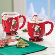 Red Santa Mugs with Spoons - Set of 2 - 44754