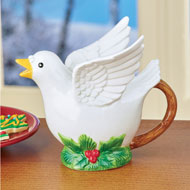 Holiday Dove & Holly Ceramic Teapot - 44774