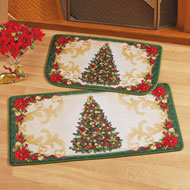 Christmas Tree with Ornaments Throw Rug Set of 2 - 44775