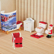 Hand-Painted Miniature Santa Bathroom Set - 44783