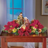 Lighted Tabletop Nativity Scene with Poinsettias - 44819