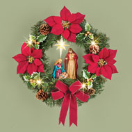 Poinsettia Nativity Scene Lighted Wreath - 44822
