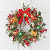 Christmas Color Changing Present LED Wreath - 44830