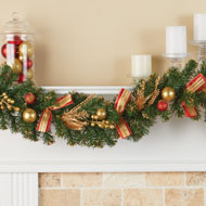 Evergreen Holiday Garland with Red & Gold Accents - 44831