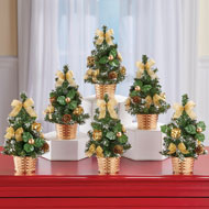 Festive Mini Gold Christmas Trees - Set of 6 - 44832