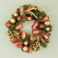 Evergreen Holiday Wreath with Red & Gold Accents - 44833