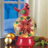 Cardinal with Lighted Decorative Glass Ball - 44857