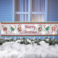 Merry Christmas Candy Cane Lighted Banner