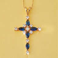 Sparkling Cross Necklace with Jewels, Gold Tone - 44937
