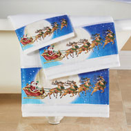 Flying Santa w/ Sleigh and Reindeer Towel Set of 3 - 44950