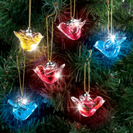 Lighted Glass Dove Christmas Ornaments Set of 6 - 44965