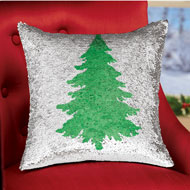 Christmas Tree Mermaid Sequin Throw Pillow Cover - 44982