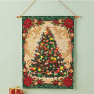 Hanging Christmas Tree Tapestry Lighted Wall Art - 45088