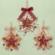 Primitive Wooden Wall Star - Set of 3 - 45091