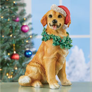 Christmas Golden Retriever Holiday Dog Statue
