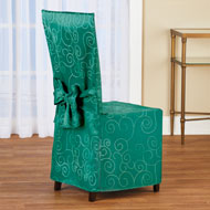 Scroll Patterned Elegant Dining Chair Cover - 45207