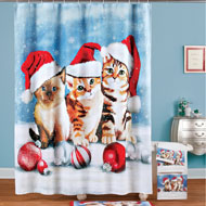 Adorable Christmas Cats Shower Curtain - 45212