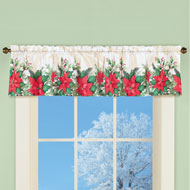 Poinsettia Bloom Window Valance Curtain - 45227