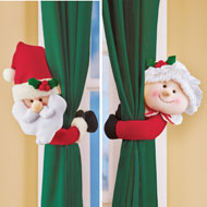 Santa and Mrs. Claus Curtain Tie Back Set of 2 - 45230