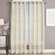 Faux Silk Scroll Sheer Design Curtain Panel - 45241