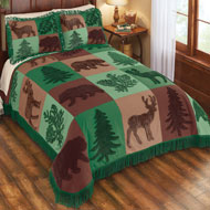 Forest Lodge Patchwork Chenille Bedspread - 45257